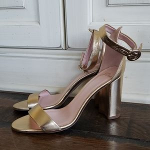 J. Crew Stella heels ankle strap metallic K7923